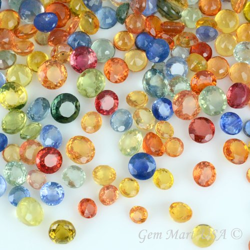 (10 Carats Natural Multi Color Sapphire Loose Gemstones, Round Shape (2-3MM) Mix Color, Excellent Color, Wholesale Price. Prepared Exclusively by GemMartUSA.(MS-60006))