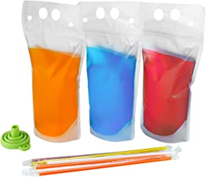 100PCS Drink Pouches with Straw Smoothie Bags Juice Pouches with 100 Drink Straws, Heavy Duty Hand-Held Translucent Reclosable Ice Drink Pouches Bag by C CRYSTAL LEMON