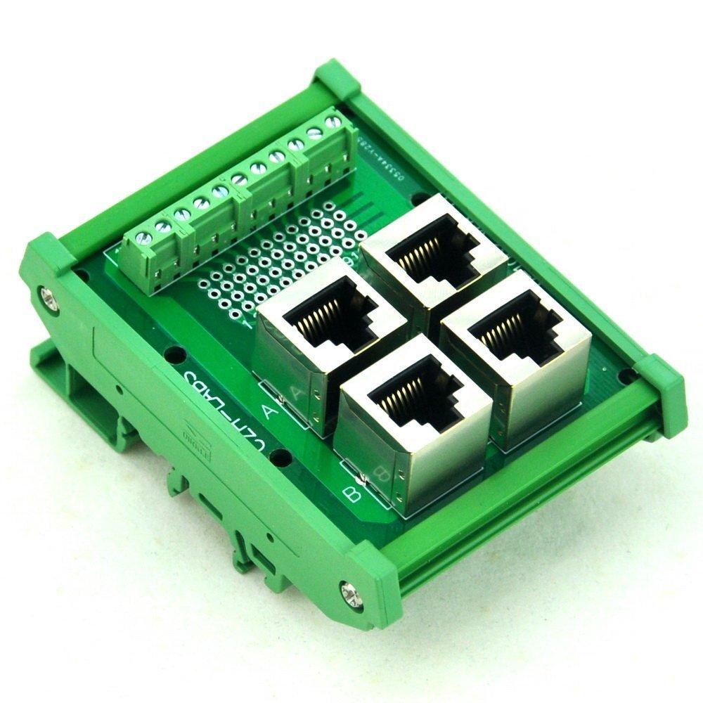 Electronics-Salon DIN Rail Mount RJ50 10P10C 4-Way Buss Board Interface Module.