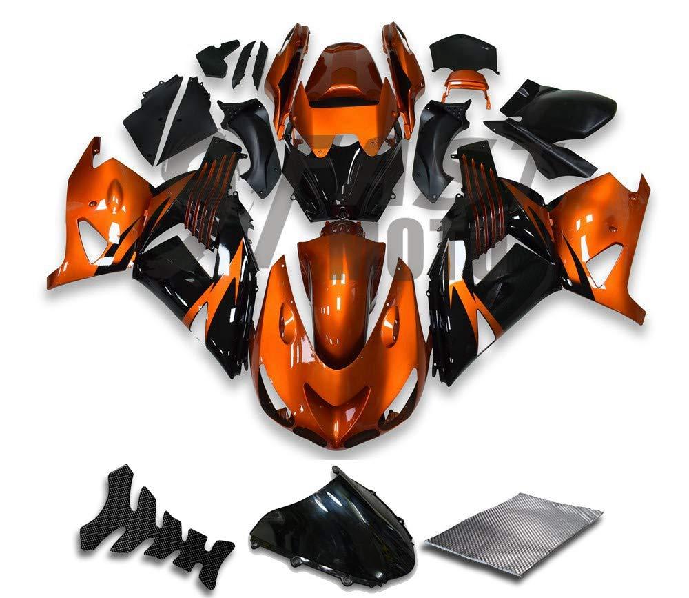 9FastMotokawasaki カワサキ ZX14R ZX-14R ZZ-R1400 2006 2007 2008 2009 2010 2011 用フェアリング オートバイフェアリングキット ABS 射出成形セット スポーツバイク カウル パネル (オレンジ & ブラック) K0829   B07GH6KMR4