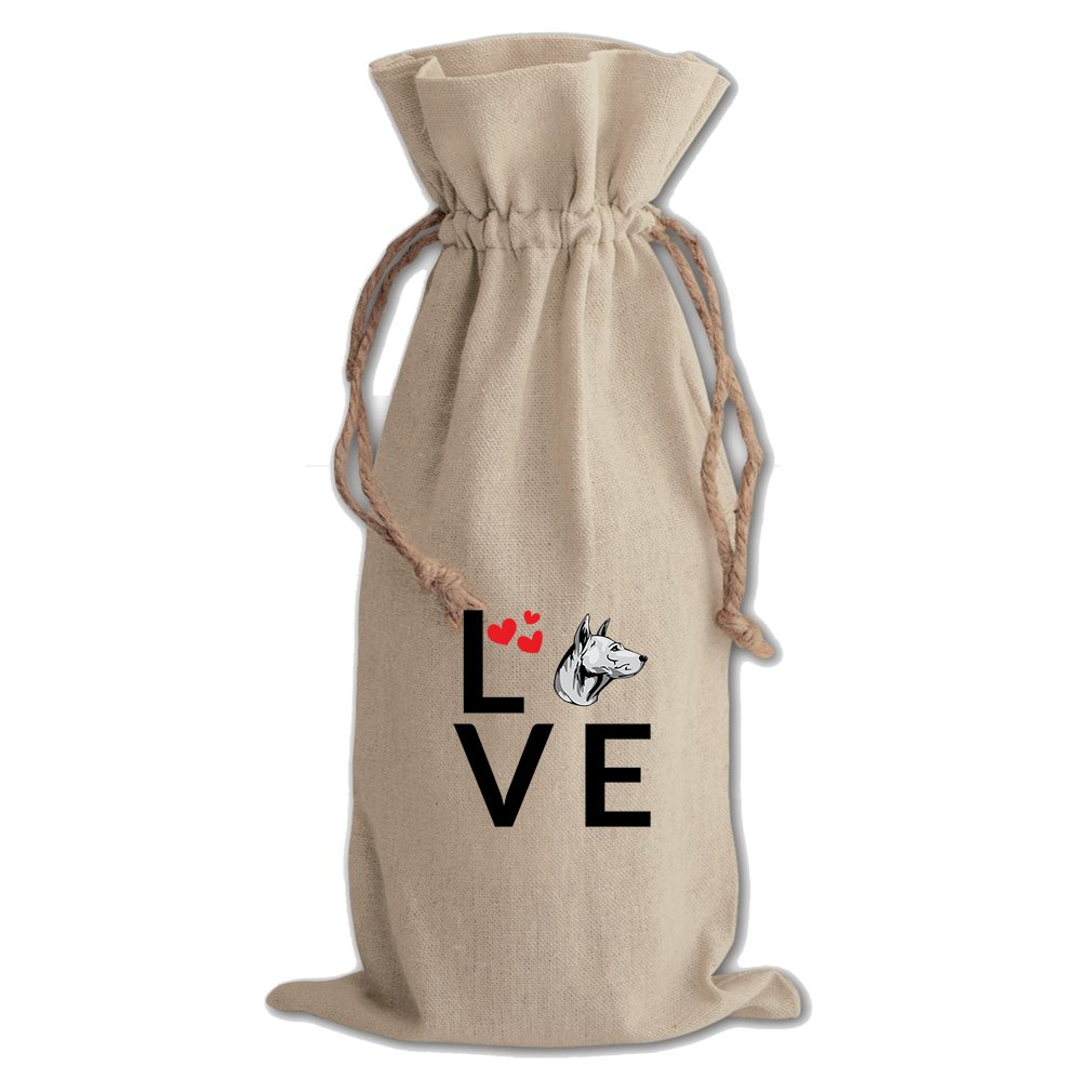 Canvas Wine Cotton Drawstring Bag Love Hearts Thai Ridgeback Dog Style In Print