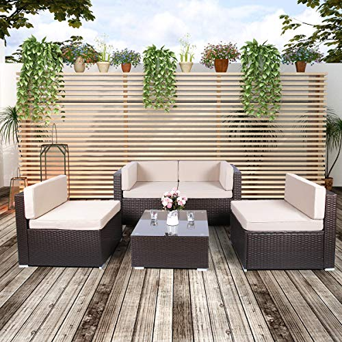U-MAX 5 Pieces Brown Patio PE Rattan Wicker Sofa Set Outdoor Sectional Furniture Chair Set with Cushions and Tea Table Brown
