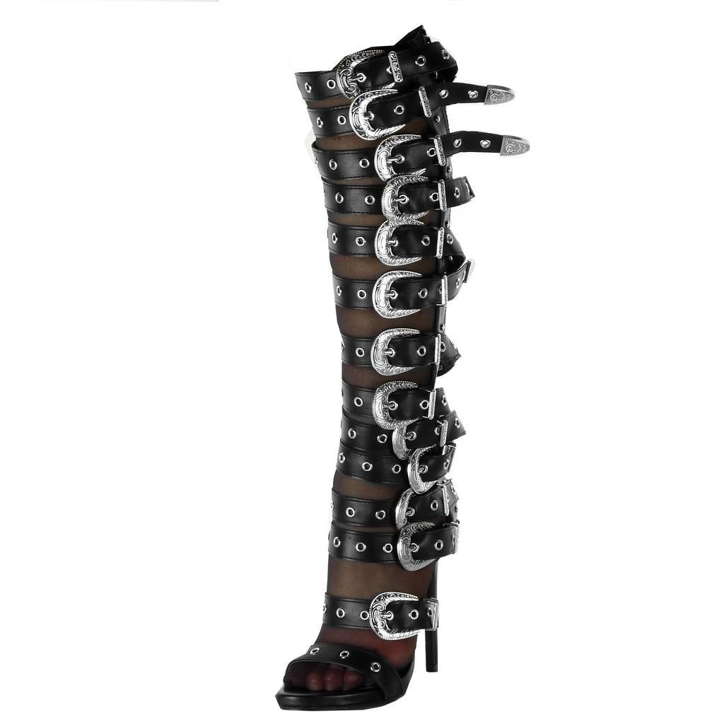 Angkorly Scarpe Moda Stivali Scarponi Stiletto Gladiatore Flessibile Donna Fibbia Perforato Multi-Briglia Tacco Stiletto Alto 13 cm Nero
