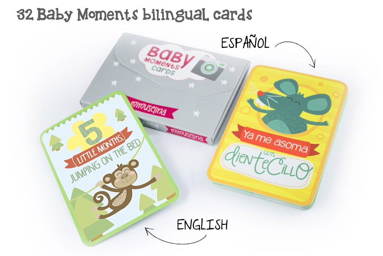 Baby Moments Cards by Mimuselina (Bilingüe: Español-English) Regalo recien nacido original para bebé