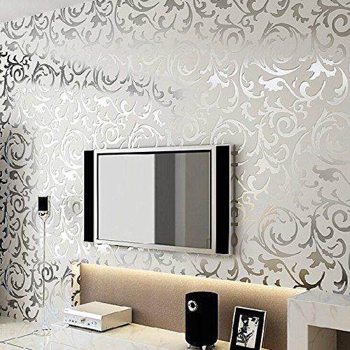 schlichtheit europisch heim tapete umweltschutz vliestapete fr wohnzimmer tv kulisse mustertapete grau silber amazonde kche haushalt - Muster Tapete Wohnzimmer