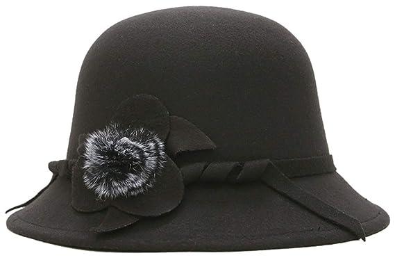 bettyhome British Style Women s Wool Feeling Ball Top Felt Bucket Hat  (Black) f12f6f40c0e