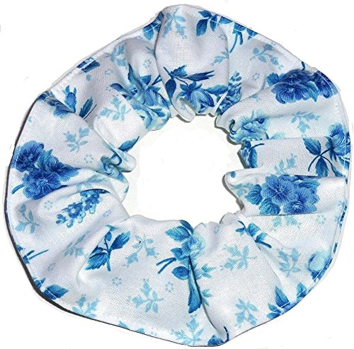 Blue and White Floral Flowers Fabric Hair Scrunchie Handmade by Scrunchies by Sherry
