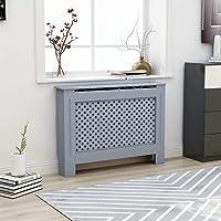 UnfadeMemory Cubierta de Radiador,Mueble para Radiador,Cubierta de Calefacción,MDF (Gris Antracita,Diseño Cruzado, 112x19x81cm)