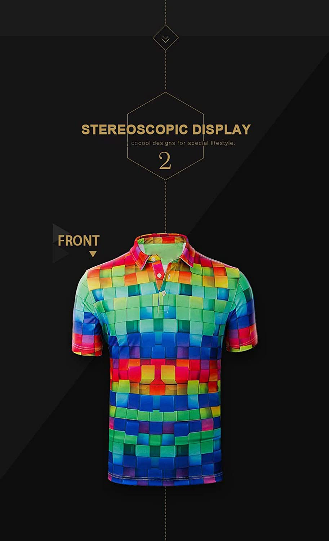 HUGS IDEA Novelty Mens Regular Fit Shirt Colorful Geometry Short Sleeve Sport Tennis Tees