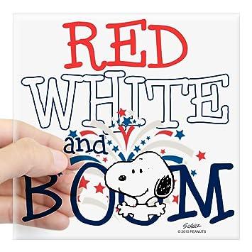 Cafepress Snoopy Rot Weiß Boom Quadratisch Aufkleber 7 6 Cm X
