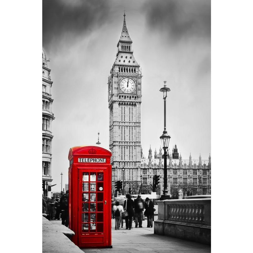 Pitaara Box Red Telephone Booth & Big Ben in London England UK D2 Canvas  Painting MDF Frame 14 X 21Inch