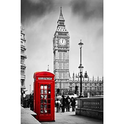 2cd196204f5e PB Red Telephone Booth & Big Ben In London England UK Canvas Painting 6mm  Thick MDF Frame 12 x 18inch