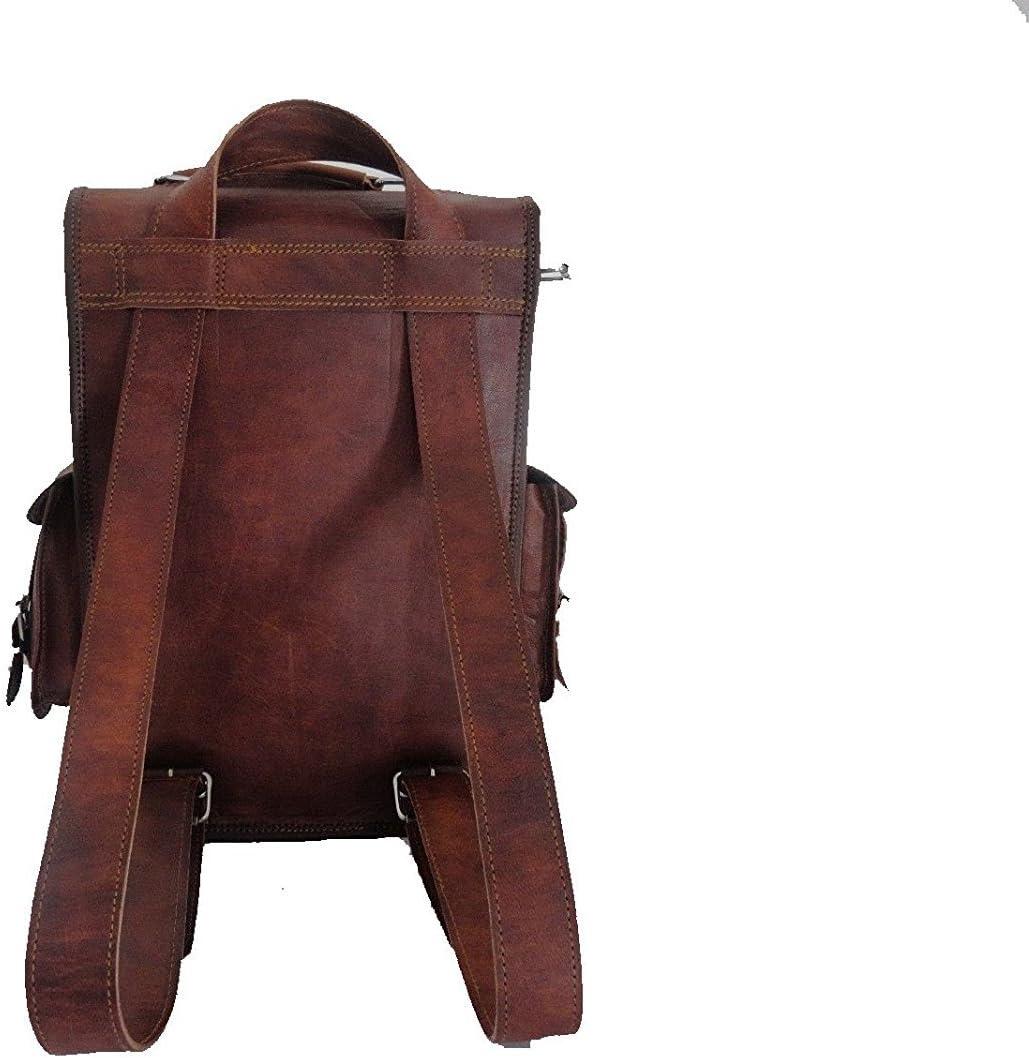 Pranjals House Mens Vintage Leather Handmade Backpack OneSize Brown