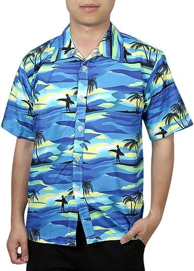 Funky Hawaiian Shirt Pinaepple Blue Short Sleeve