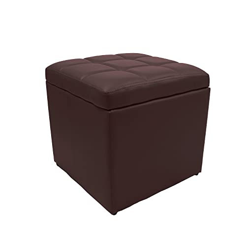 Magshion*Unfold Leather Storage Ottoman Bench Footstools Square Brown