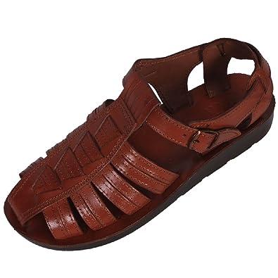 Ferrari Unisex Genuine Brown Leather Style  104 Jesus Biblical Greek Roman  Sandals (36 M 8968062af