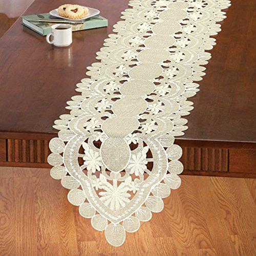 Collections Etc Embroidered Daisy Organza Table Linens, Runner ()
