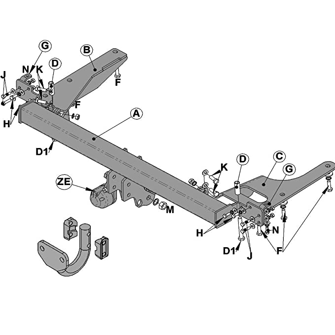 Witter Hn69a Fixed Flange Neck Tow Bar