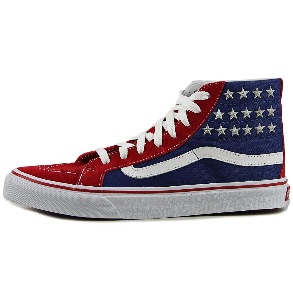 804d34d4b4 Vans Womens SK8 Hi Slim Studded Stars Red Blue Textile Trainers 8.5 US   Amazon.ca  Shoes   Handbags