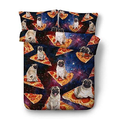 (KTLRR Universe Pizza Bulldog Duvet Cover Set,Galaxy Funky Food Design Bedclothes 3pcs,Funny Home Decor Bedding Set with Pillowcases,Soft Comfortable Microfiber No Comforter (Bulldog Pizza, Twin 3pcs))
