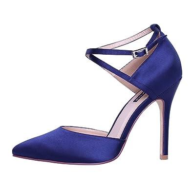 baf515ad13e ERIJUNOR E2264 Women High Heel Ankle Strap Satin Dress Pumps Evening Prom  Wedding Shoes Navy 5