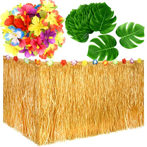 (KUUQA Luau Hawaiian Grass Table Skirt and 48 Pcs Artificial Tropical Palm Monstera Leaves Hibiscus Flowers for Aloha Tiki Jungle Moana Theme Tropical Birthday Party Decorations Ideas)