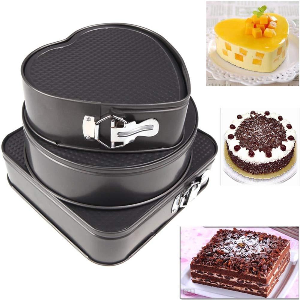 Baking Pans,3Pcs/set Metal Cake Baking Pan Round Square Heart Shaped Non Stick Oven Baking Trays Cake Mold Bakeware Baking Tools