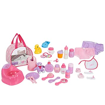 923bf8f4df0 You Me 30 Piece Baby Doll Care Accessories in Bag  Amazon.co.uk  Toys    Games