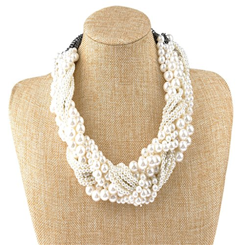 IPINK Womens Fashion Jewelry Pearl Multi-Pearl Shell Necklace Chokers Chains Earring Jewelry Set
