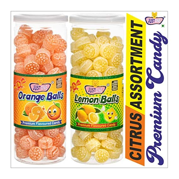 JUSTONE Orange Balls & Lemon Balls Premium Candy 460g