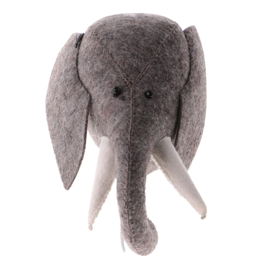 Jili Online Handmade Felt Wall Mount Elephant Head Sculpture Home Children's Room Hanging Hanger Decoration Baby Clothes Hook