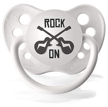 Amazon.com: Personalizado guitarra Rock On chupetes Chupete ...
