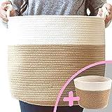 "Little Hippo 2pc Large Cotton Rope Basket (15""x14"") 100% Natural Cotton! Rope Basket, Woven Storage Basket, Large Basket, Blanket Basket Living Room, Toy Basket, Pillow Basket, Round Basket"