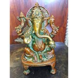 Ganesh Brass Statue Sitting Hindu God Ganesha Sculpture Prayer Temple Decor