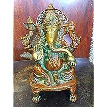Ganesh Brass Statue Sitting Hindu God Ganesha Sculpture Prayer Temple Decor