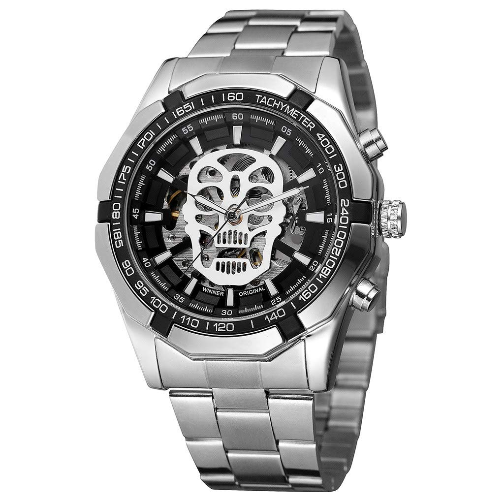 Clearance! Hot Sale! ❤Watch Hollow Demon Dial Luxury Design Business Fashion Men's Mechanical Watch for Father Men Student Youth Teens Boyfriend Lover's Birthday Anniversary Gift Under 30 Dollars