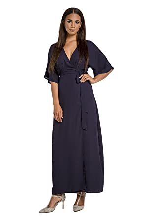 0fffa81d1ea Standards   Practices Modern Women s Navy Woven Chiffon Kimono Wrap Maxi  Dress Size ...