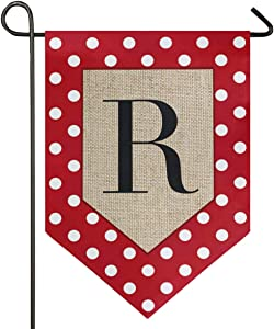 Oarencol Monogram Letter R Polka Dot Garden Flag Red and White Classics Double Sided Home Yard Decor Banner Outdoor 12.5 x 18 Inch