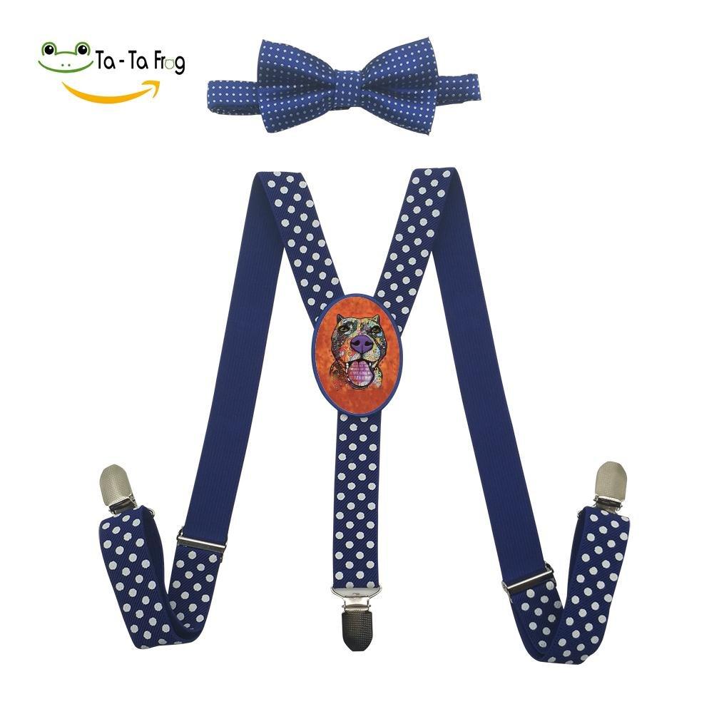 Xiacai Art Dog Face Suspender/&Bow Tie Set Adjustable Clip-On Y-Suspender Kids