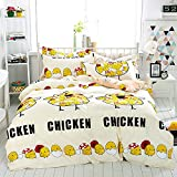 WarmGo Home Texitle Bedding Sets for Adult Kids Lovely Yellow Chicken Egg Pattern Design Duvet Cover Set 100% Cotton 4 Piece Full/Queen Size -No Comforter
