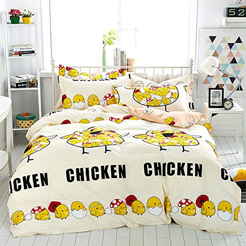 WarmGo Home Texitle Bedding Sets for Adult Kids Lovely Yellow Chicken Egg Pattern Design Duvet Cover Set 100% Cotton 4 Piece Full/Queen Size -No (Chicken Egg Bag)