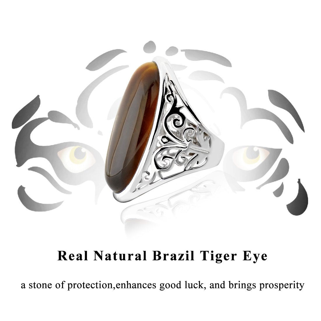 94d259a87 Amazon.com: GemsChest Sterling Silver Magnificent Oval Shaped Tiger Eye  Solitaire Ring: Jewelry