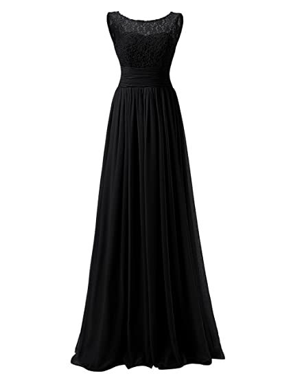 Dresstells reg; Long Prom Dress Scoop Bridesmaid Dress Lace Chiffon Evening Gown