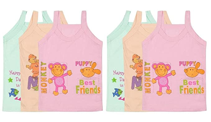 684184f17 Littly Baby Girls Printed Cotton Camisole Slips Vests