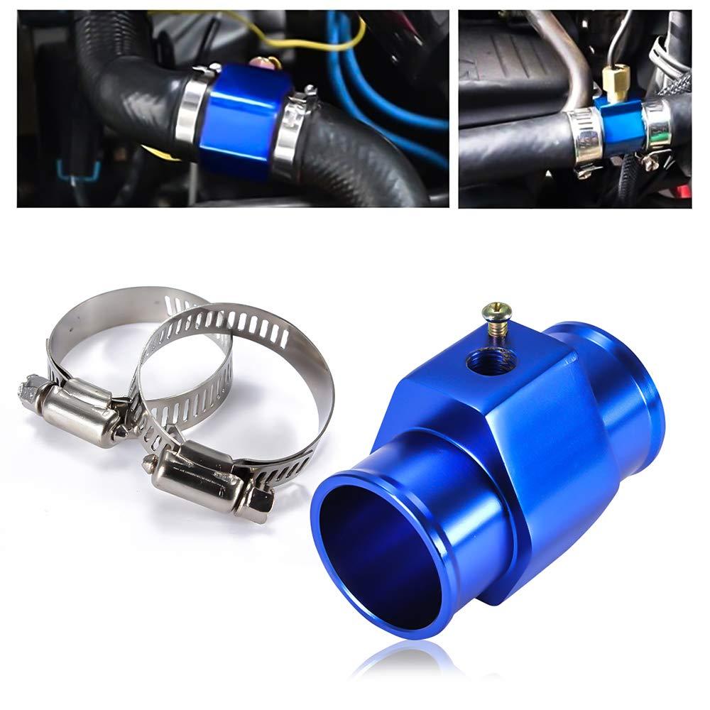 Adattatore per sensore di temperatura del tubo flessibile per tubo flessibile per autoveicoli universale per auto da 34 mm in metallo blu con fascette stringitubo