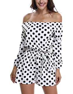 d23fbcbf5fd MISS MOLY Rompers for Women Strapless Off The Shoulder Long Sleeve Short  Jumpsuits with Belt