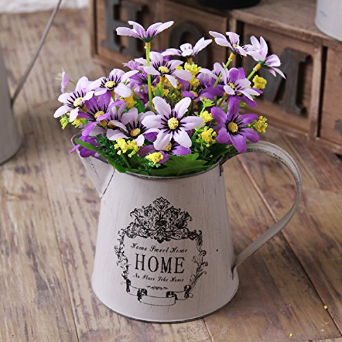 AO Flower Rack French Style Village Vintage Old Iron Gardening Flower Vase Flower Bucket Watering Can, White, 7.14.95.1 inch