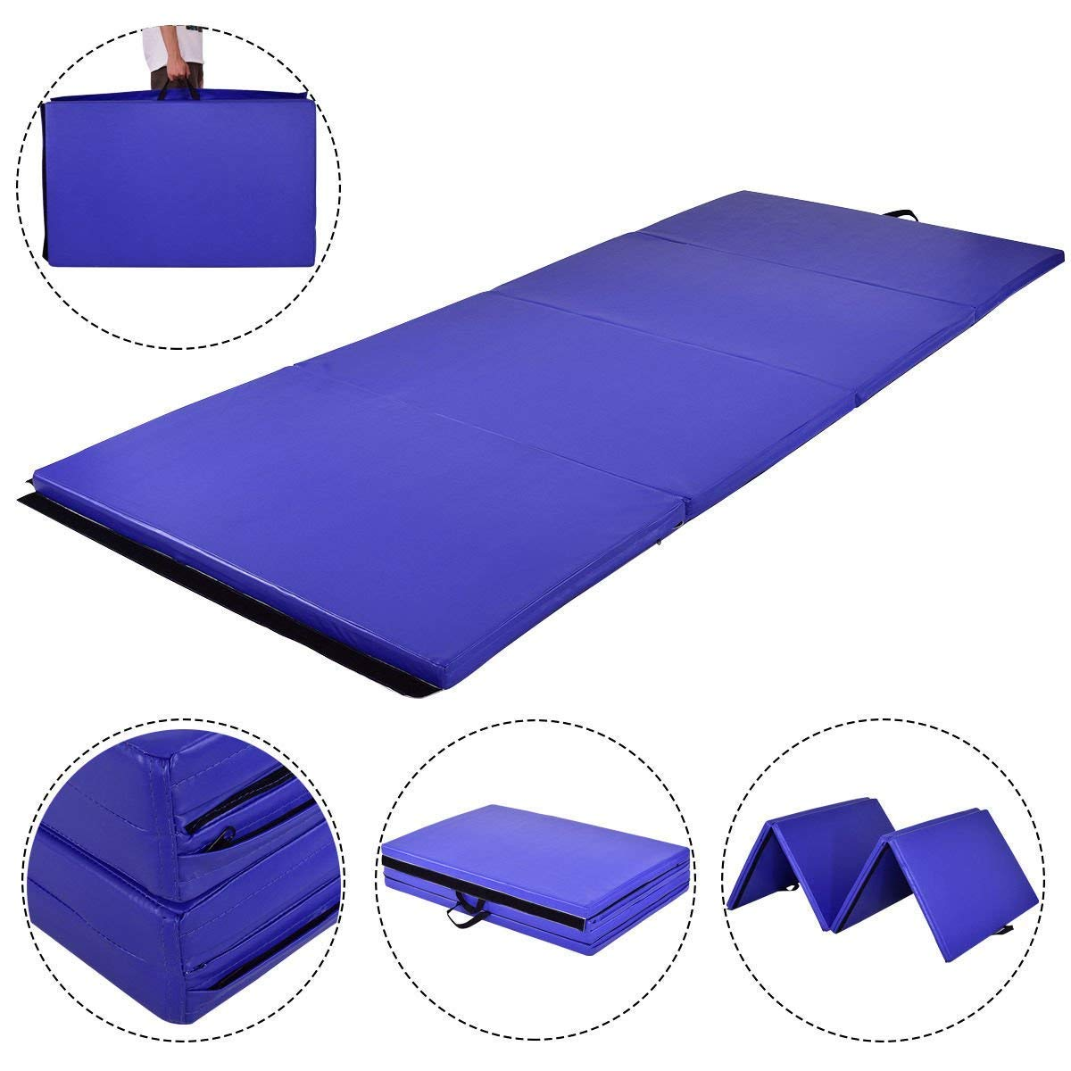 MAT EXPERT 4x10x2 Gymnastics Mat Thick Folding for Tumbling Exercise Gym Fitness Mat with Hook /& Loop Fasteners