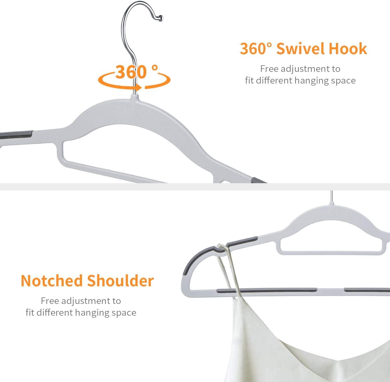 FSUTEG Hangers Plastic Clothes Hangers 50 Pack Heavy Duty Pants Hangers Space Saving Non Slip Coat Hanger Grey