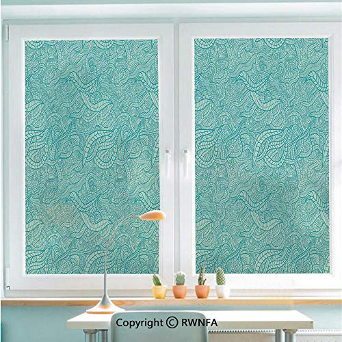 - Decorative Window Films Kitchen Glass Sticker Vintage Botanic Nature Leaves Veins Swirls Ivy Mosaic Inspired Image Print Decorative Waterproof Anti-UV for Home and Office 22.8